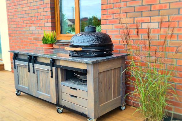 Granite stone countertop for Kamado barbecue
